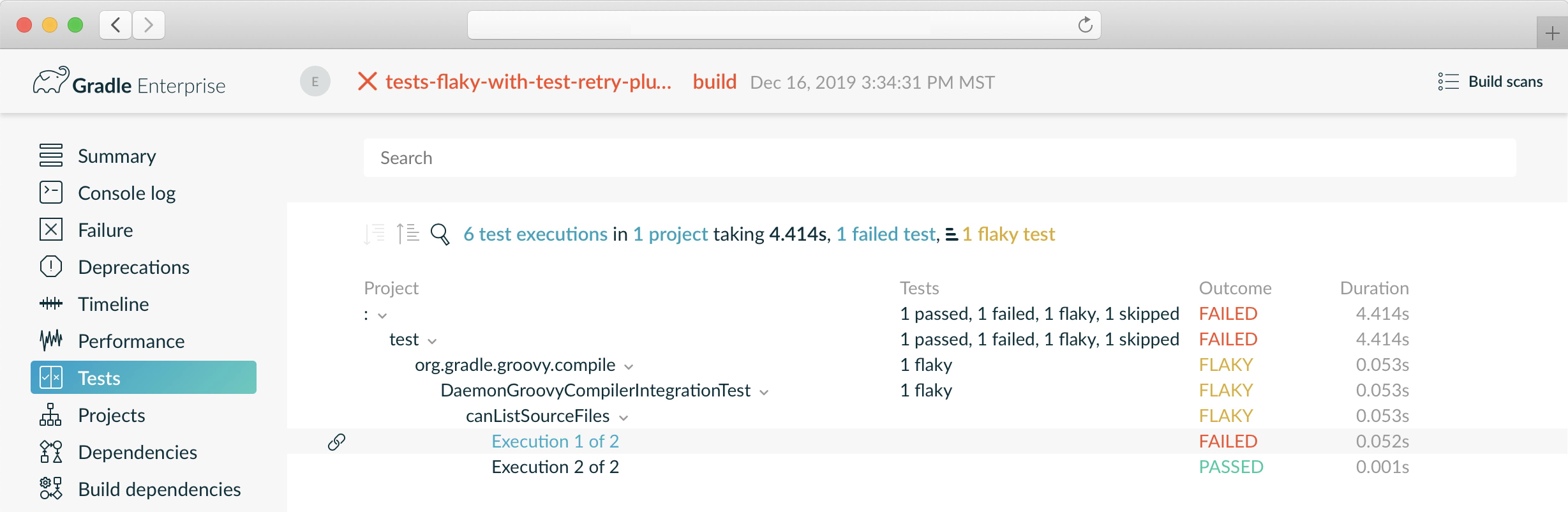 Build Scan with flaky test